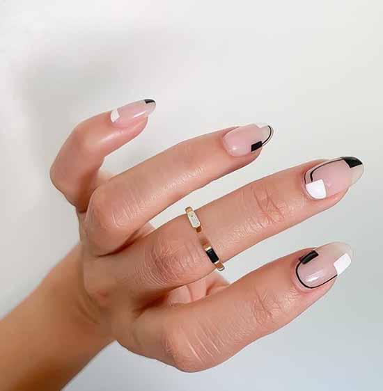 Геометрический маникюр овальные ногти