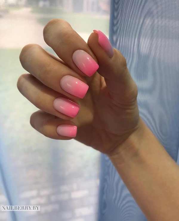 Розовое нейл-омбре