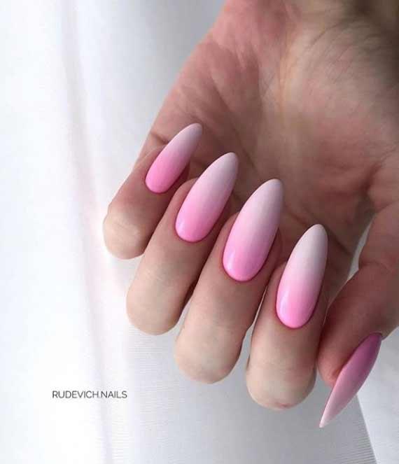 Нежный дизайн наращенные ногти