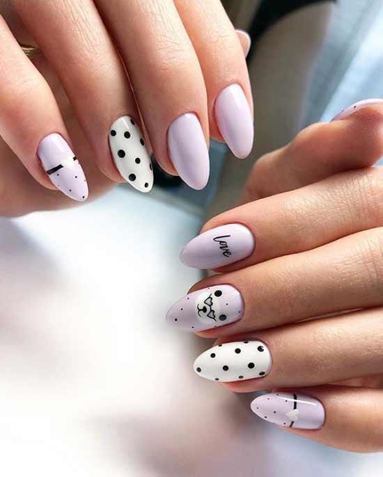 Дизайн ногтей с горошком и милыми рисунками