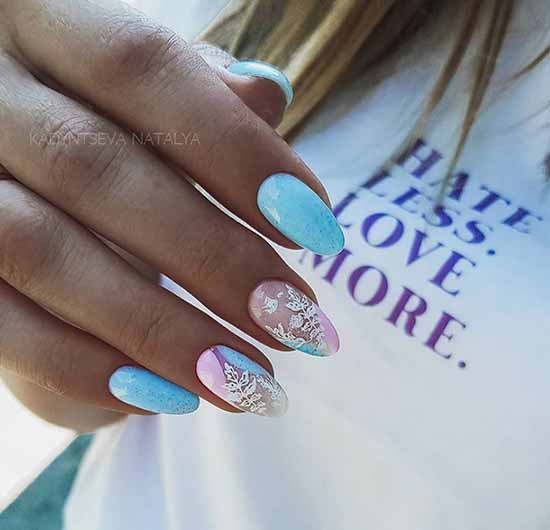 Нежно-голубой дизайн ногтей