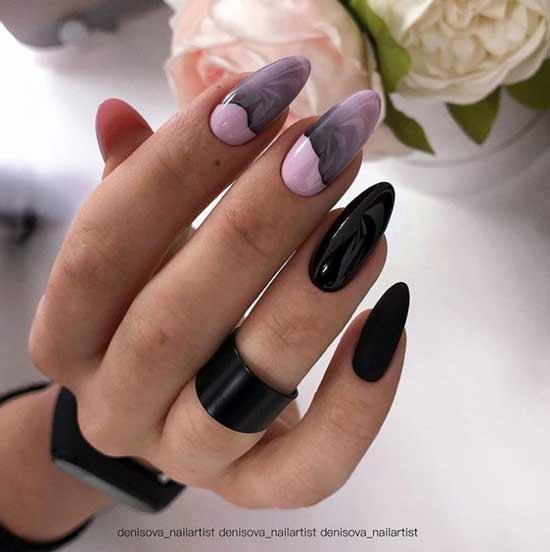 Черно-розовый дизайн ногтей