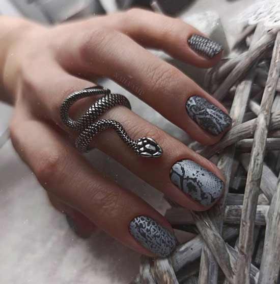 Оригинальный дизайн коротких ногтей