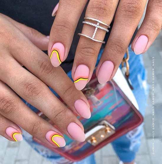 Розовый оригинальный дизайн ногтей