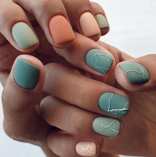 Осенний маникюр короткие ногти