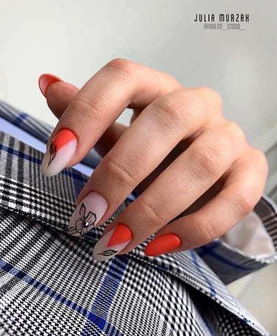 Сочетание бежевого и красного в осеннем дизайне ногтей