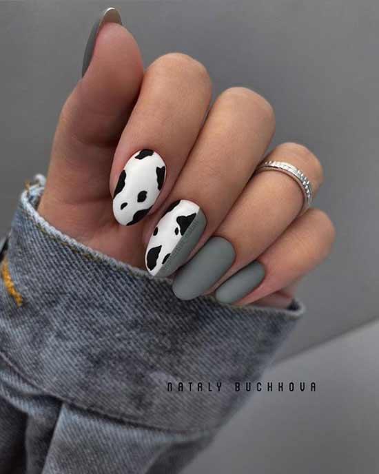 Серый осенний маникюр фото