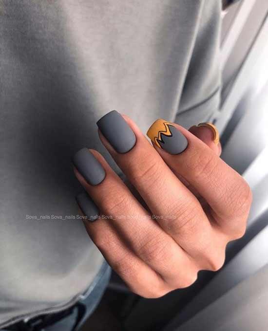 Серый маникюр на средние ногти