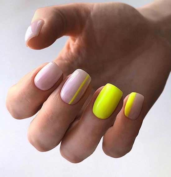 Дизайн ногтей с неоновыми полосками