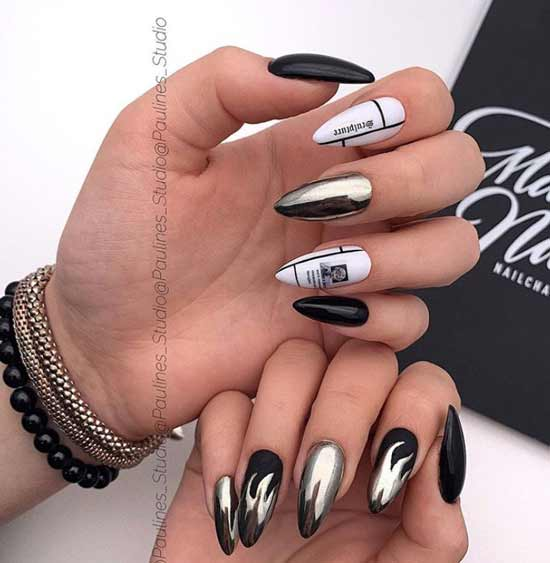 Модный дизайн ногтей черных