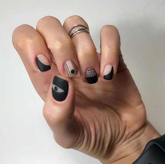 Черно-прозрачный дизайн ногтей