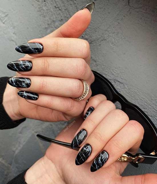 Дизайн ногтей черный мрамор