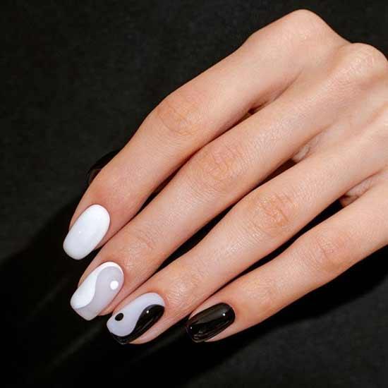 Черно-серый с белым дизайн ногтей