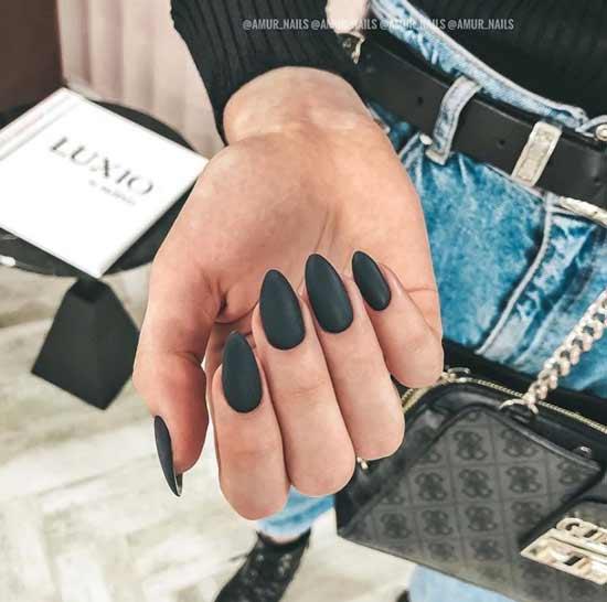 Черный матовый на длинные ногти