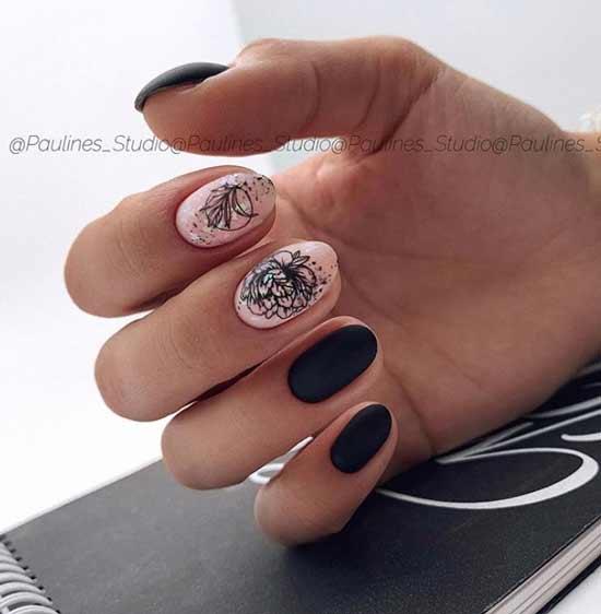 Дизайн черных ногтей со слайдером