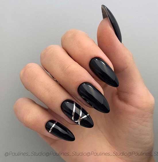 Дизайн ногтей черный минимализм