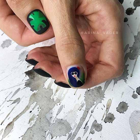 Черно-зеленый дизайн ногтей