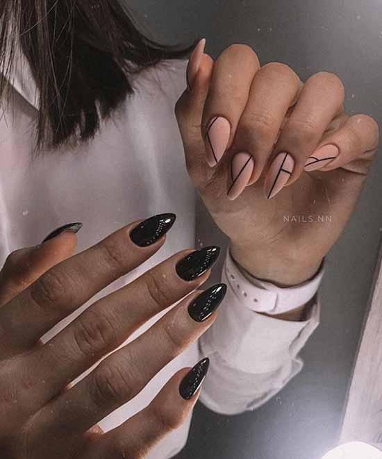 Черный нейл-дизайн разные руки