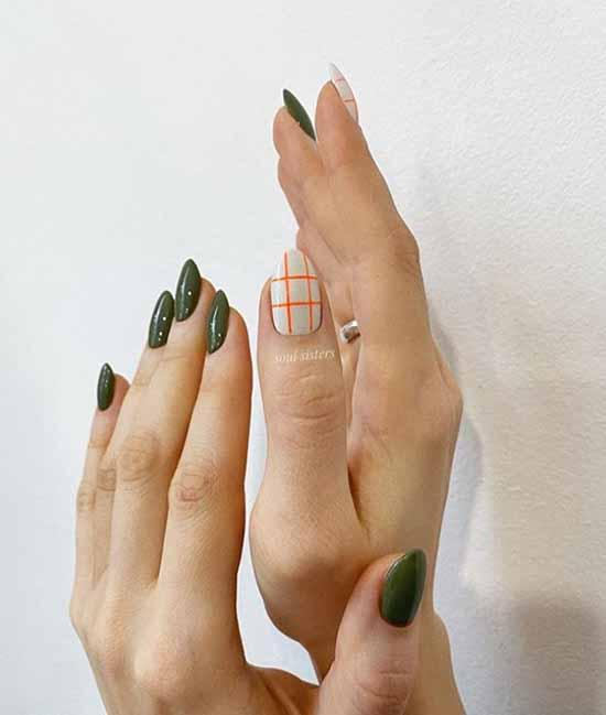 Зеленый дизайн ногтей осень