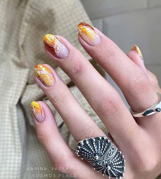 дизайн ногтей осень