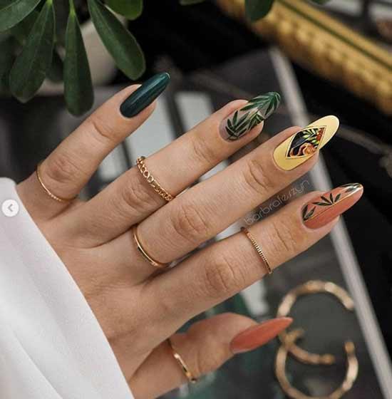 Разноцветный дизайн ногтей осень