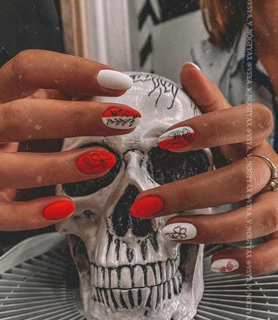 Красно-белый дизайн ногтей осень
