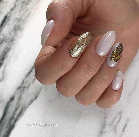 Дизайн ногтей с позолотой осень