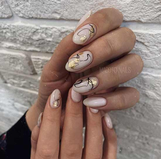Аппликация из фольги на ногтях дизайн осень
