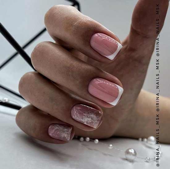 Дизайн коротких ногтей с блестками