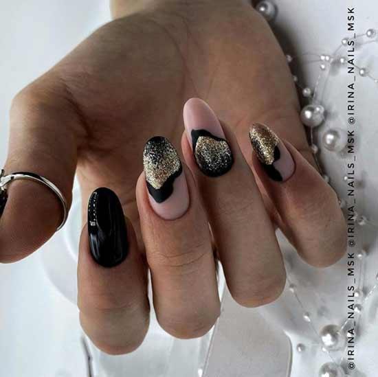 Дизайн черный с блестками