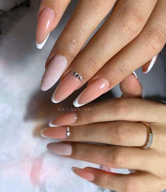 Длинные ногти балерина нежный дизайн