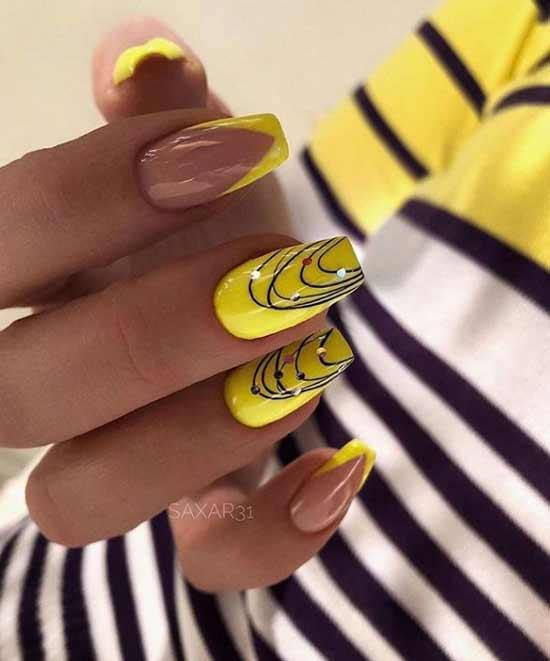 Яркий желтый маникюр на ногти пуанты