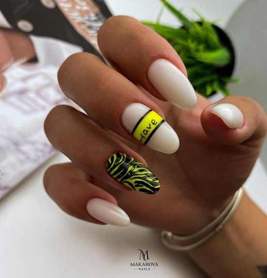 Дизайн ногтей с неоновым акцентом