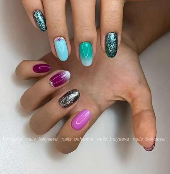 Разноцветное омбре на ногтях