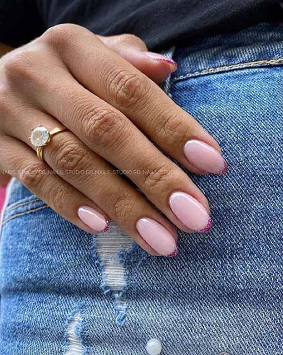 Розовый с блестками