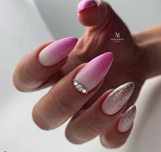 Маникюр розовый с блестками фото