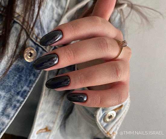 Длинные однотонные черные ноготки
