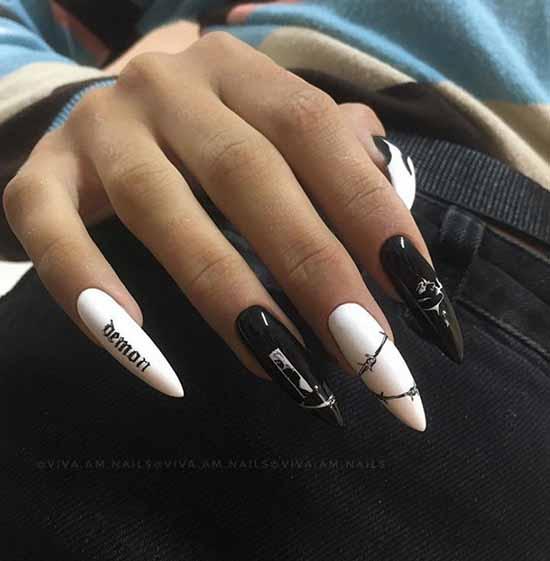 Черно-белые длинные ноготки