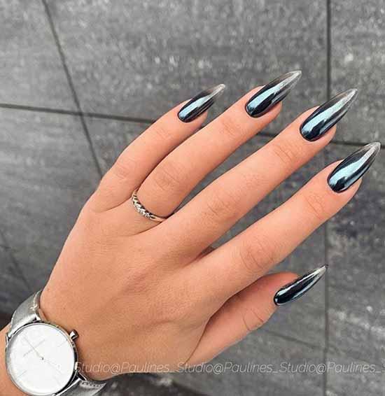 Черный маникюр с втиркой на длинные ногти