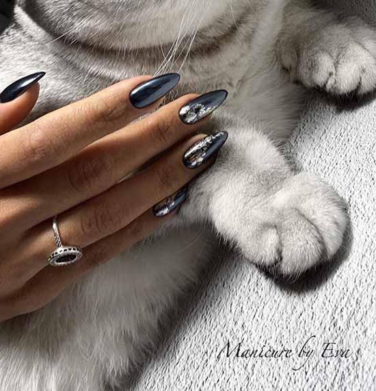 Черный блестящий маникюр на длинные ногти
