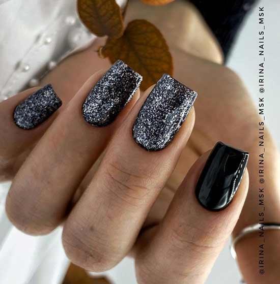 Черный с серебряными блестками