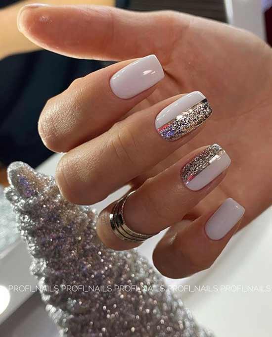 Белый новогодний дизайн с блестками
