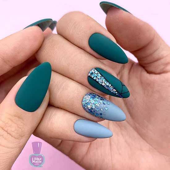 Зеленый дизайн ногтей с блестками
