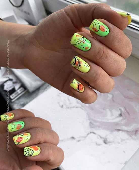 Паутинка на ногтях яркий дизайн