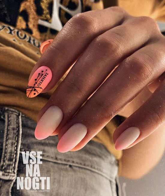 Надписи на ногтях и паутинка