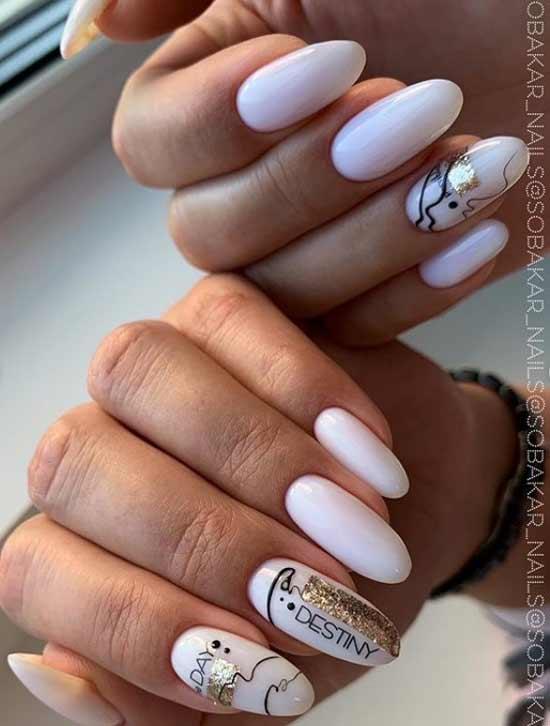Дизайн ногтей с паутинкой и блестящими полосками