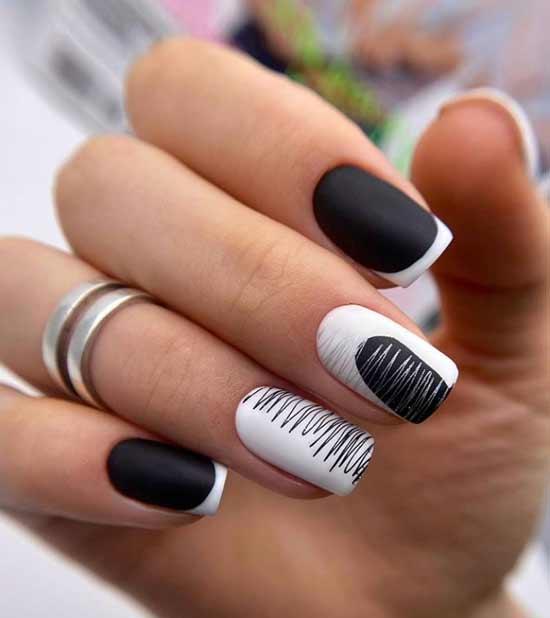 Черно-белый френч короткие ногти