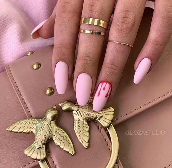 Длинные матовые розовые ноготки