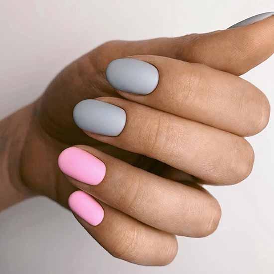 Серый + розовый маникюр