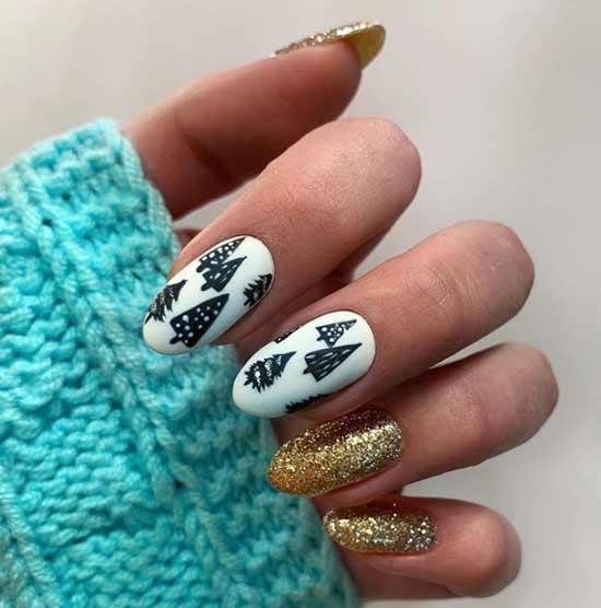 Новогодний дизайн ногтей с елочками